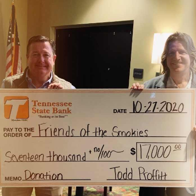 Todd Proffitt, President/CEO and Robert Tino, Director of TSB presented the Friends of the Smokies a check for 2020 contributions.